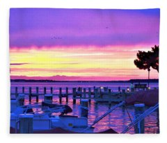 Sunset On The Docks Fleece Blanket