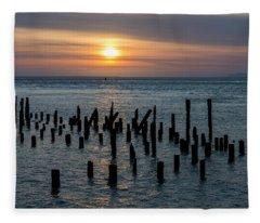 Sunset On The Empire Fleece Blanket