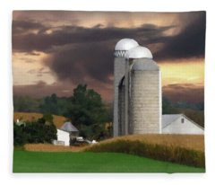 Sunset On The Farm Fleece Blanket
