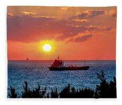 Sunset On The Horizon Fleece Blanket