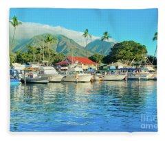 Sunset On The Marina Lahaina Harbour Maui Hawaii Fleece Blanket