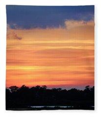 Sunset On The Marsh Fleece Blanket