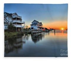 Sunset On The Obx Sound Fleece Blanket