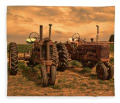 Sunset On The Tractors Fleece Blanket