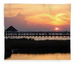 Sunset On Wetlands Walkway Fleece Blanket
