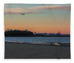Sunset On Wollaston Beach In Quincy Massachusetts Fleece Blanket