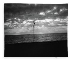 Sunset Ostia Beach Fleece Blanket