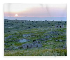 Sunset Over A 2000 Years Old Village Fleece Blanket