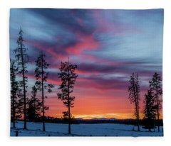 Sunset Over A Farmers Field, Cowboy Trail, Alberta, Canada Fleece Blanket