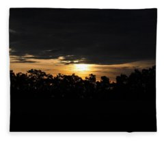 Sunset Over Farm And Trees - Silhouette View  Fleece Blanket