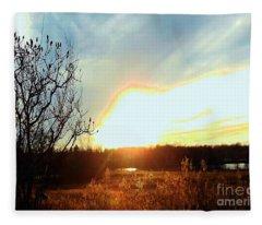Sunset Over Fields Fleece Blanket