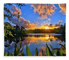 Sunset Over Hidden Lake In Jupiter Florida Fleece Blanket