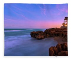 Sunset Over House Of Refuge Beach On Hutchinson Island Florida Fleece Blanket