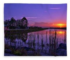 Sunset Over Hungryland Wildlife Management Area Fleece Blanket