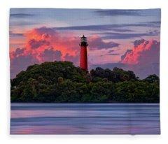 Sunset Over Jupiter Lighthouse, Florida Fleece Blanket