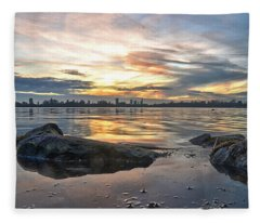 Sunset Over Lake Kralingen  Fleece Blanket