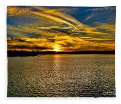 Sunset Over Lake Palestine Fleece Blanket