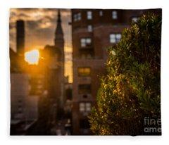 Sunset Over Manhattan New York City Fleece Blanket