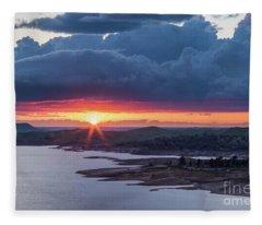 Sunset Over Millerton Lake  Fleece Blanket