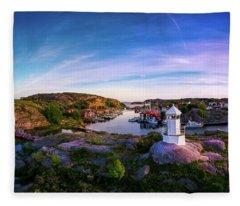 Sunset Over Old Fishing Port - Aerial Photography Fleece Blanket