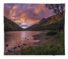 Sunset Over Profile Lake Fleece Blanket