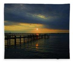 Sunset Over The Bay Fleece Blanket