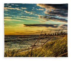 Sunset Over The Great Lake Fleece Blanket