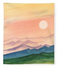 Sunset Over The Hills Fleece Blanket