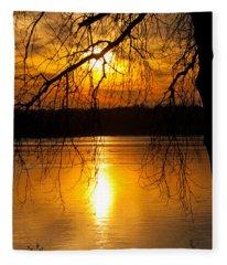 Sunset Over The Lake Fleece Blanket