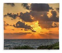 Sunset Over The Mediterranean  Fleece Blanket
