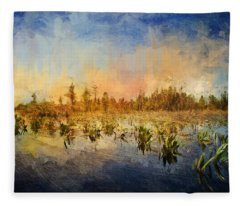 Sunset Over The Okefenokee Fleece Blanket