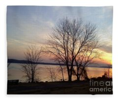 Sunset Over The Potomac Fleece Blanket