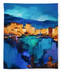 Sunset Over The Village 3 By Elise Palmigiani Fleece Blanket