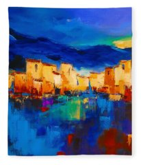 Sunset Over The Village Fleece Blanket