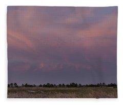 Sunset Over The Wetlands Fleece Blanket