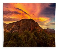 Sunset Over Timber Top Mountain Fleece Blanket