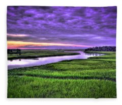 Sunset Over Turners Creek Savannah Tybee Island Ga Fleece Blanket