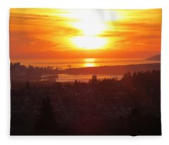 Sunset Over Vancouver Fleece Blanket
