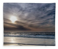 Sunset Over West Coast Beach With Silk Clouds In The Sky Fleece Blanket