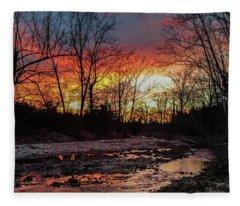 Sunset Over Winter Creek Fleece Blanket