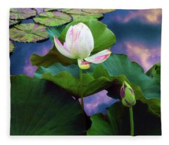 Sunset Pond Lotus Fleece Blanket