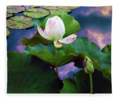 Sunset Pond Lotus Fleece Blanket