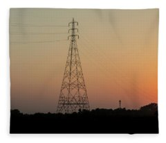 Fleece Blanket featuring the photograph Sunset Pylons by Chris Cousins