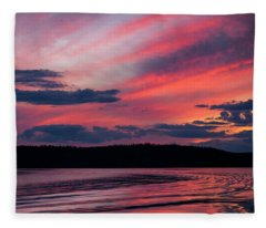 Sunset Red Lake Fleece Blanket