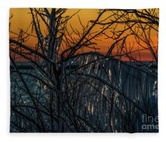 Sunset Reflecting Off Ice On Bare Trees Fleece Blanket
