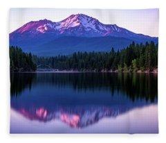 Sunset Reflection On Lake Siskiyou Of Mount Shasta Fleece Blanket