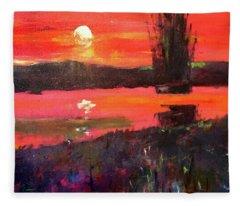 Sunset River Fleece Blanket