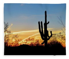 Sunset Saguaro In The Spring Fleece Blanket