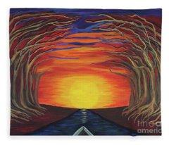 Treetop Sunset River Sail Fleece Blanket