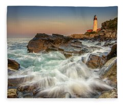 Sunset Sail At Portland Head Light Fleece Blanket